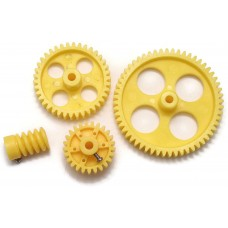 Yellow Plastic Wheel, Spur, Worn Gear COMBO For DC Motor DIY Model Toys 56 TOOTH + 38 TOOTH + 26 TOOTH + 6 TOOTH - PAIR OF 4